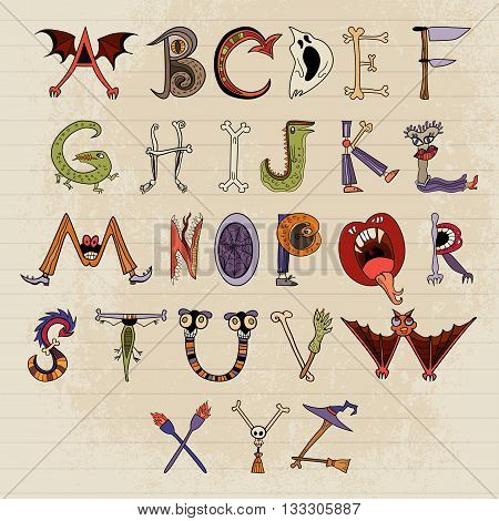 Horrible font for your design. Alphabet of monster characters.
