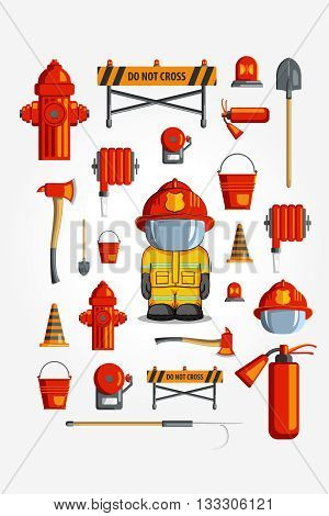Vector Colorful Vintage Flat Icon Set. Illustration For Infographic. Firefighter Equipment And Volun