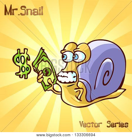 Mr. Snail with money. vector illustration EPS10