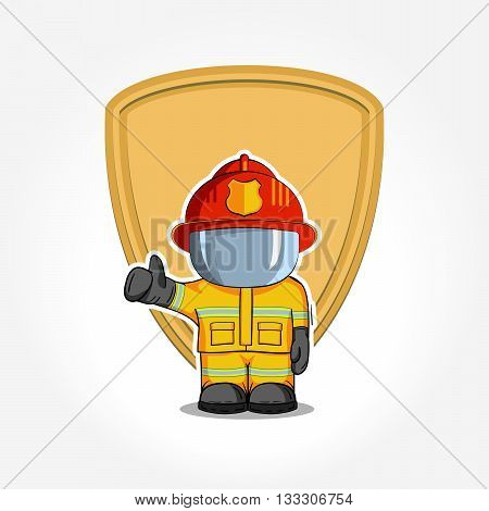 Vector Hand Drawn Illustration. Isolated Character Firefighter In Protective Suit Stands And Raises