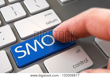Hand Finger Press SMO Key. Man Finger Pushing SMO Blue Key on White Keyboard. SMO Concept - White Keyboard with SMO Key. Computer User Presses SMO Blue Button. 3D Render.