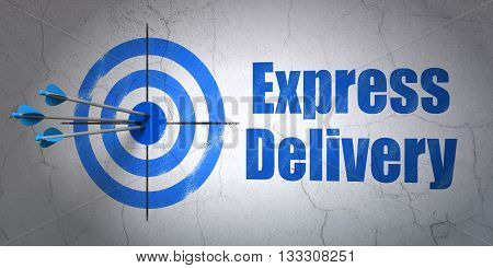 Success business concept: arrows hitting the center of target, Blue Express Delivery on wall background, 3D rendering