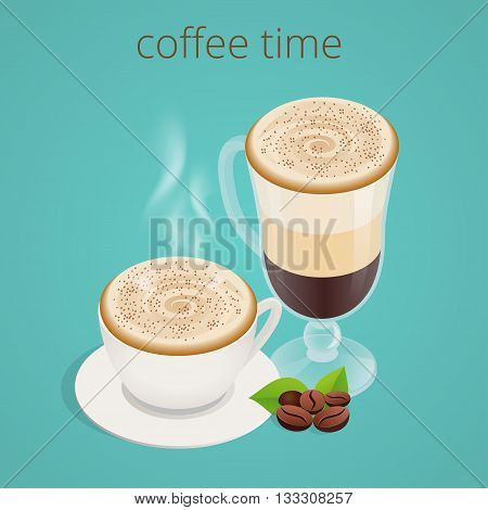 Coffee time or coffee break. Group People Chatting Interaction Socializing Concept.