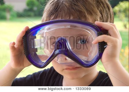 Boy Wearing Pool Googles