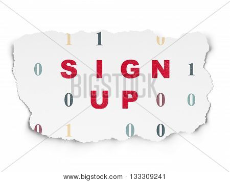 Web design concept: Painted red text Sign Up on Torn Paper background with  Binary Code