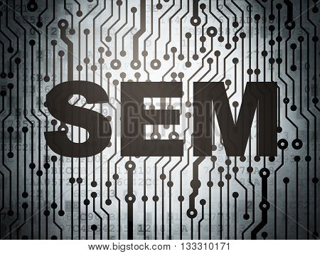 Marketing concept: circuit board with  word SEM, 3D rendering