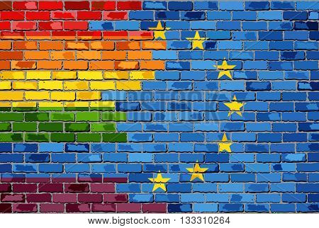 Brick Wall European Union and Gay flags - Illustration, Rainbow flag  & EU flag,  Abstract grunge European Union flag and LGBT flag