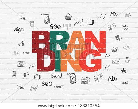 Advertising concept: Painted multicolor text Branding on White Brick wall background with  Hand Drawn Marketing Icons