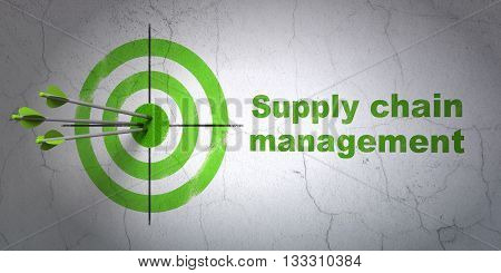 Success advertising concept: arrows hitting the center of target, Green Supply Chain Management on wall background, 3D rendering