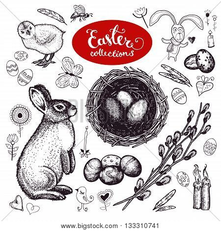 Easter vintage traditional symbols set - eggs, bunny, willow twigs, candles, egg decorating, hare, rabbit, chicken, gift, bee, bird, flower, butterfly, nest. Vector. Isolated. Vintage and doodle style