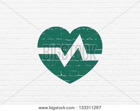 Medicine concept: Painted green Heart icon on White Brick wall background
