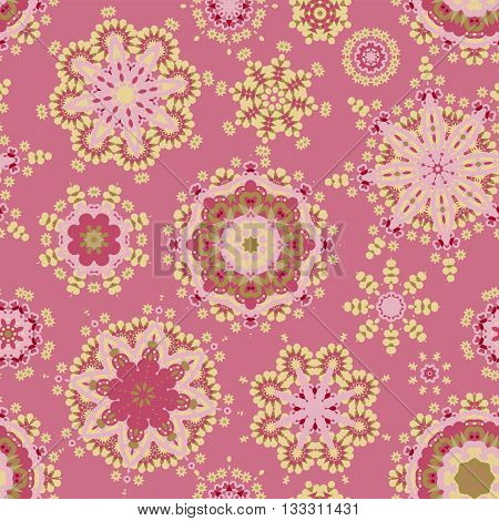Ethnic pattern in pink golden color with stylized flowers, leaves and circular shapes with Kazakh, Turkish, Uzbek motifs Seamless vector texture for print, spring summer fashion, fabric, textile