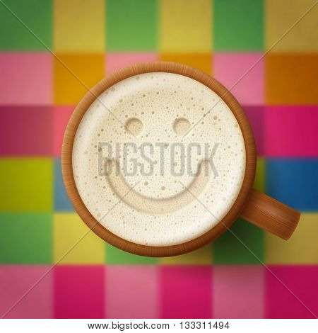 Wooden mug of beer smiling face at froth on cute checkered background. Fun and good mood concept