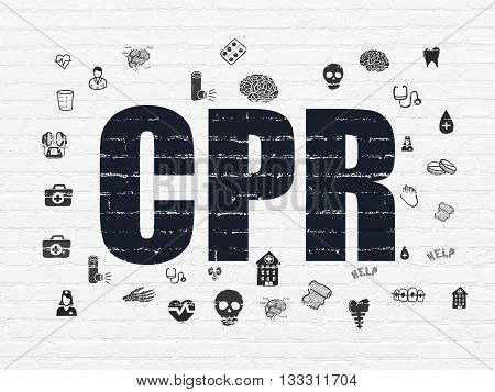 Health concept: Painted black text CPR on White Brick wall background with  Hand Drawn Medicine Icons
