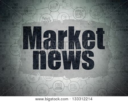 News concept: Painted black text Market News on Digital Data Paper background with  Scheme Of Hand Drawn News Icons