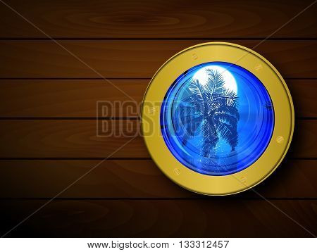 Porthole on the wooden background, vector artistic illustration.