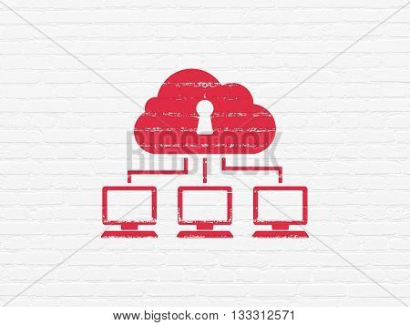 Cloud technology concept: Painted red Cloud Network icon on White Brick wall background