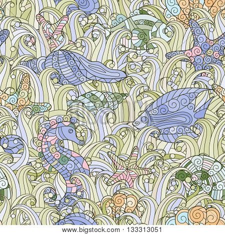 Seamless pattern of colorful hand drawn seashells, starfish and seahorse