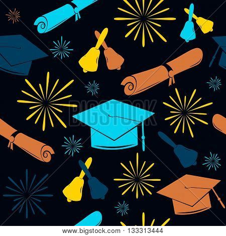 Seamless graduation backdrop of graduation caps, balloons and diplomas. Graduation pattern. Graduation celebration background.