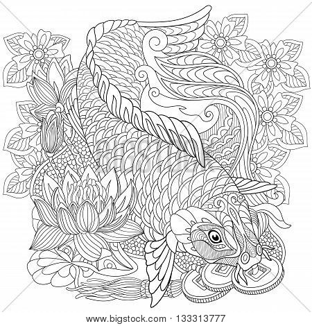 Zentangle stylized cartoon koi carp isolated on white background. Hand drawn sketch