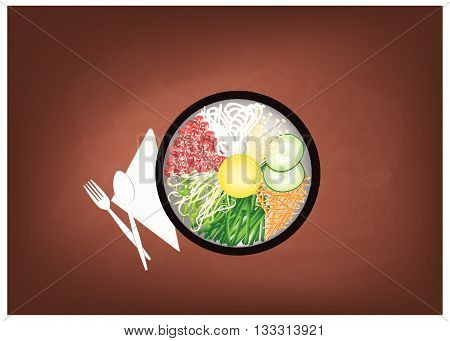 Korean Cuisine Bibimbap or Korean Mixed Rice with Meat and Assorted Vegetables Topped with Egg Yolk and Chilli Paste on Black Chalkboard. A Popular Dish in Korea.
