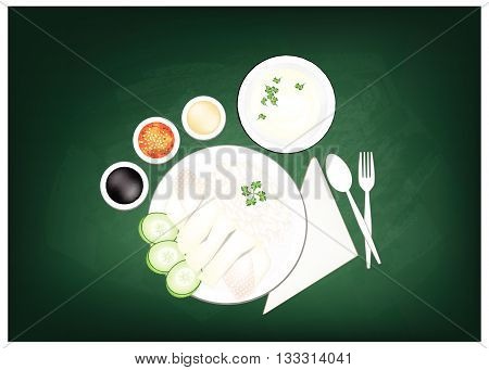 Cuisine and Food Hainanese Chicken Rice Served with Clear Soup and Sauce on Green Chalkboard. One of The Most Popular Foods in Asia.