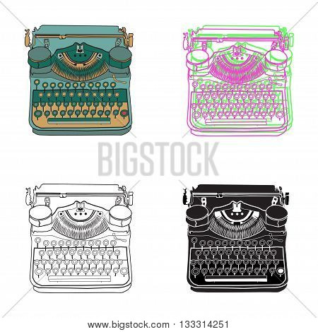 Set Of 4 Pastel Vintage Typewriters