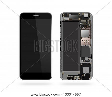 Phone inside isolated chip motherboard processor cpu and details 3d illustration. Smartphone component repair. Cellphone chipset constitution. Telephone scecification. Broken device mending. Computer disassembled