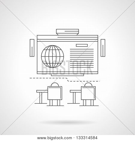Training room with projector screen and desks. International scientific lecture or webinar at school, university, college. Single detailed flat line vector icon. Web design element.