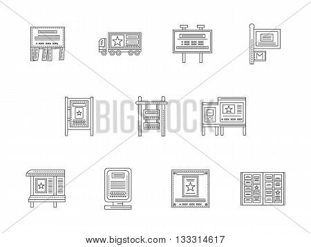 Elements and samples of outdoor advertising. Wall ads, advertise on truck, signboards and billboards, newspaper and others. Set of flat line style vector icons.
