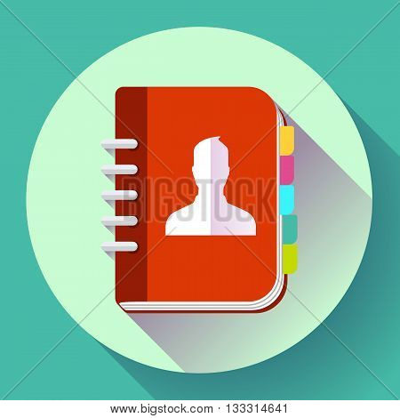 Adress phone book icon, notebook icon. Flat design style.