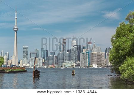 Gorgeous great scenic view at Toronto city waterfront skyline on sunny summer day