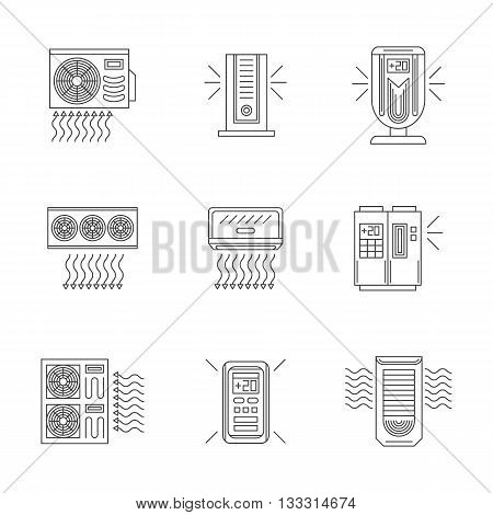 Air conditioning and air compressor systems for home, office, industry. Split air conditioners. Service and store for appliances. Set of flat line style vector icons.
