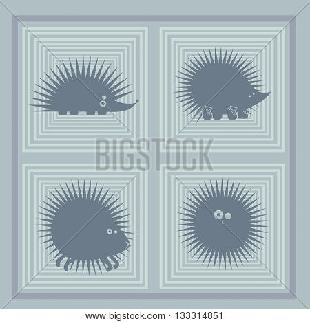 funny silhouettes of spiny hedgehogs in different poses