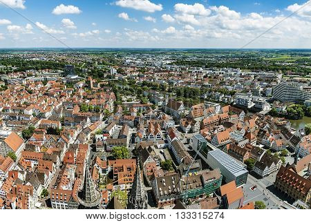 Bird's Eye View Over Ulm, Shot From The Tower Of The Minster