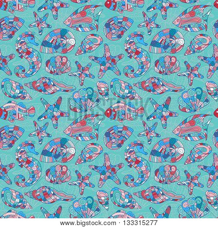 Zentangle stylized sea shell seamless pattern. Hand Drawn aquatic doodle vector illustration. Ocean life. Shells, starfish, fish, sea horse. Blue pink on blue background