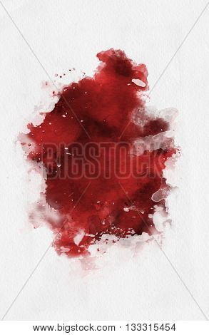 Red watercolor paint banner with random brushstrokes as a central band over textured white paper with copy space for a design template