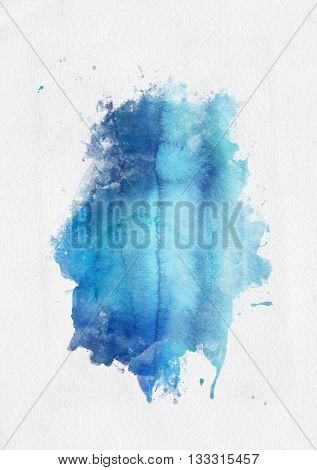 Blue watercolor paint banner with random brushstrokes as a central band over textured white paper with copy space for a design template