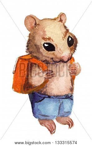 Animals going to school - hamster, squirrel, rabbit