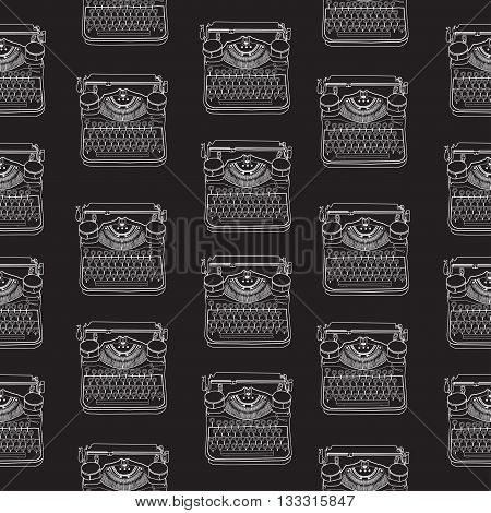 Seamless Pattern With Vintage Typewriters