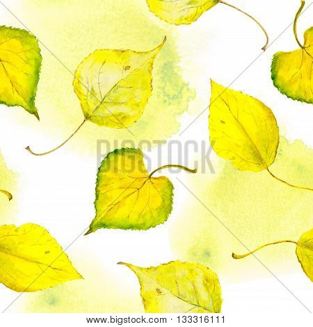 Watercolor yellow, golden autumn leaves. Seamless pattern.