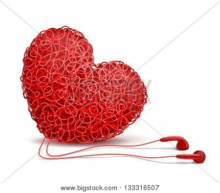 Heart weaved from variety of twisted red wires and earphones nearby on white background. Listening to your heart concept