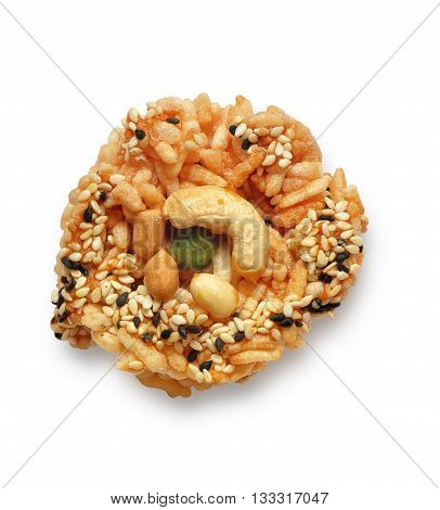 Puffed rice with cereal on a white background