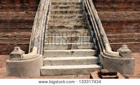 Old stairs of ruins pagoda at Ayuttaya.