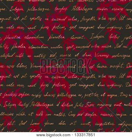Chinese red maple leaves with old manuscript hand written text. Seamless mysterious pattern. Watercolor
