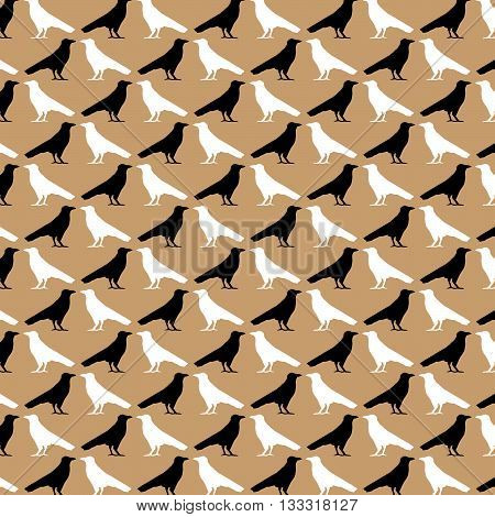 Ravens. The pattern of diagonal crowns silhouettes black and white