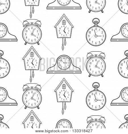 Seamless pattern with different kinds of watches. Linear icons, objects. Vector illustration