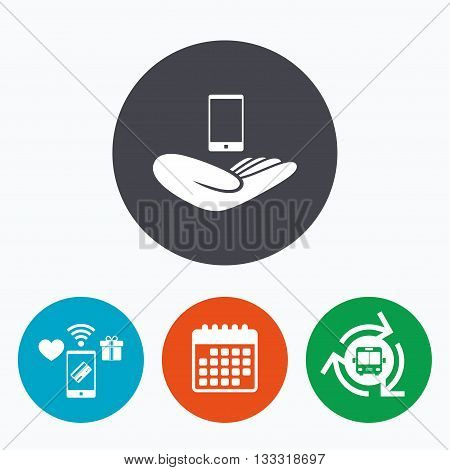 Smartphone insurance sign. Hand holds mobile phone symbol. Mobile payments, calendar and wifi icons. Bus shuttle.