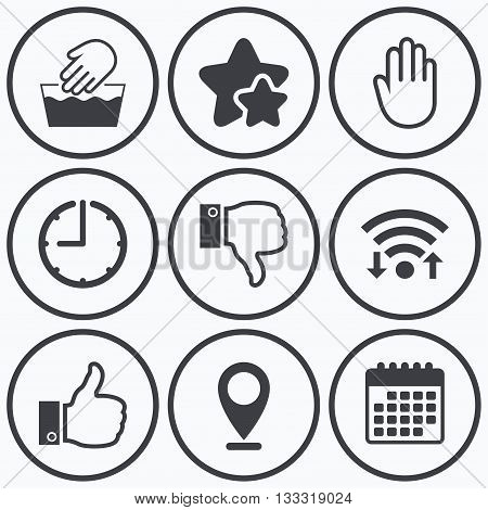 Clock, wifi and stars icons. Hand icons. Like and dislike thumb up symbols. Not machine washable sign. Stop no entry. Calendar symbol.