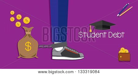 student debt and loan for education vector illustration